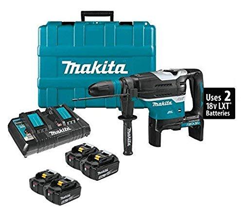 Makita XRH07PTU 18V x2 LXT Lithium-Ion (36V) Brushless Cordless 1-9/16' Advanced AVT Rotary Hammer Kit, Accepts Sds-Max Bits, Aws (5.0Ah) and Two Extra BL1850B 18V Batteries