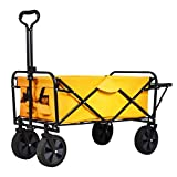SUNCOO Folding Push Wagon Cart with Folding Table, Collapsible Outdoor Utility Camping Grocery Wagon, Sturdy Portable Rolling Lightweight Patio Garden Cart, Yellow