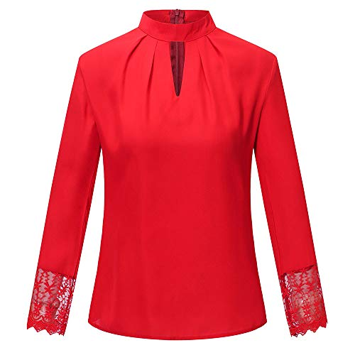 LuckyGirls Tee Shirts Femme Chic Mousseline Fleur Dentelle Patchwork Haut Épaules Nues Tops Décontractée Loose Blouse T-Shirts - Maxi - 5XL (X-Large, Rouge B)
