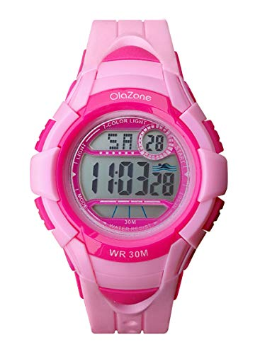 Girls Watch Kids Digital Sports 7-Color Flashing Light Water Resistant 100FT Alarm Gifts for Girls Age 7-10 (Pink) (Pink-3)