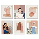 Women Wall Art Prints for Bedroom Living Room Kitchen 8X10 UNFRAMED Abstract Terracotta Neutral Shade Paintings. Minimalist female Illustration. Burnt Orange Pink Decorations. Set of 6