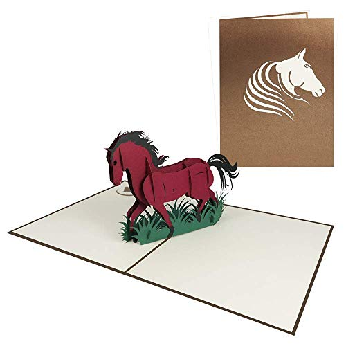Pop Up Karte Pferd 3D Geburtstagskarte Gutschein für Glückwunsch Geburtstag Freizeit Reiten Zoo Tiere - Pferd 155
