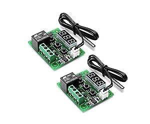 Wishlink W1209 - Set di 2 regolatori di temperatura digitali da 12 V DC, con termostato digitale micro-digitale 50-110° C, interruttore elettronico con relè a canale singolo da 10 A e impermeabile