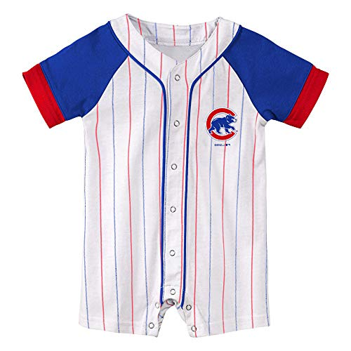 Outerstuff Chicago Cubs Classic Stripes Baby Romper (0-3)