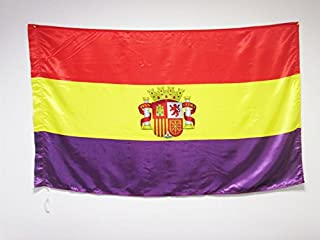 AZ FLAG Bandera ESPAÑA Republicana con Escudo 150x90cm en Raso para Palo - Bandera DE LA Republica ESPAÑOLA 90 x 150 cm