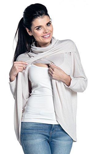 Zeta Ville - Top de Grossesse Allaitement Cache-Coeur Maille Fine - Femme - 370c (Beige, 44-46, XL)