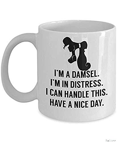11oz Coffee Mug Im A Damsel Im In Distress I Can Handle This Cup (White) Megara Hercules Gift Merchandise Shirt Sticker Decal Art Decor Best Mug Gifts
