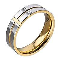 INRENG メンズ6mmチタン古典的な結婚指輪クリスチャングルーブクロスラインエンゲージメントバンド シルバーゴールド 日本サイズ24号