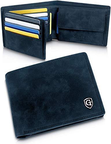 Manhattan Geldbörse mit Münzfach - TÜV geprüfter RFID, NFC Schutz - geräumiges Portemonnaie - Geldbeutel für Herren und Damen - Portmonaise inkl. Geschenkbox (Marineblau - Soft)