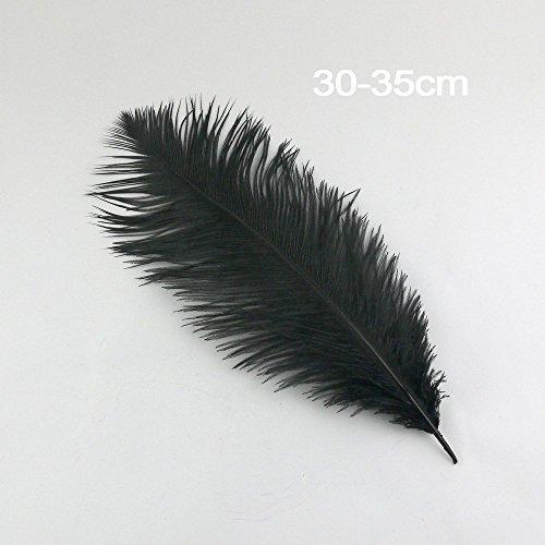 NEW plumes d'autruche Blanc/Noir 30,5–35,6 cm/30–35 cm/10/20/40 Lot de choisir to260 (40, noir)