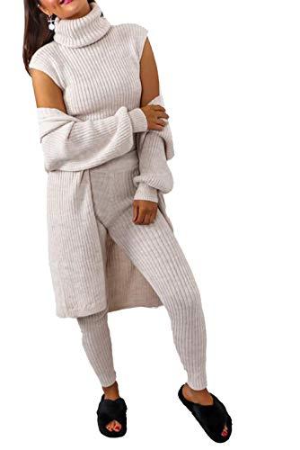 janisramone Conjunto de 3 piezas para mujer, de punto acanalado, cuello alto, para invierno, cálido