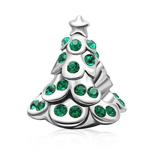 Soulbeads Jewelry Giorno di Natale ciondoli originale in argento Sterling 925cristallo regali di Natale ciondoli per braccialetti stile europeo e Base, colore: Silver, cod. SB