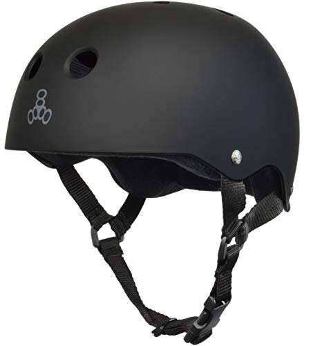 Triple Eight Sweatsaver Liner Skateboarding Helmet, All Black Rubber, Medium