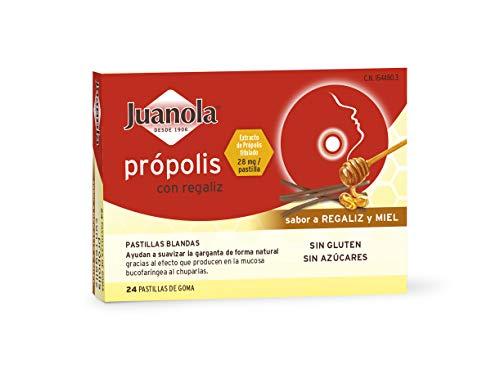 JUANOLA Própolis Sabor Regaliz y Miel - 24 pastillas blandas - Ayudan a suavizar la garganta de forma natural. Producto alimenticio con Própolis y Regaliz.
