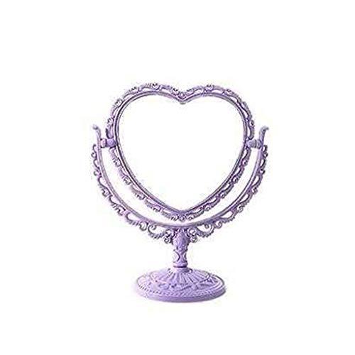 C-J-Xin Miroir fille Maquillage, rétro en dentelle de beauté Miroir en forme de coeur enfant Spin salle de bains Miroir en plastique étanche Petit Miroir Miroirs à main pour salons de coiffure