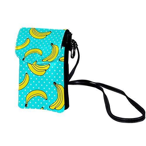 Xingruyun Bolso de teléfono móvil para Mujer Plátano Azul Lunares Mini Bolso de teléfono Celular Monedero doble de Cuero con ranura para tarjeta de crédito 19x12x2cm