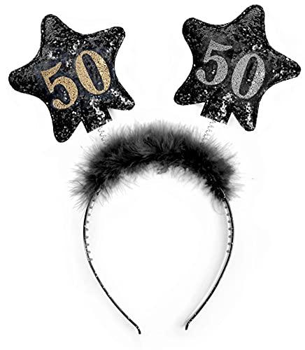 PartyDeco- Cerchietto Antenne con Numero 50, Colore Nero/Oro, OP50