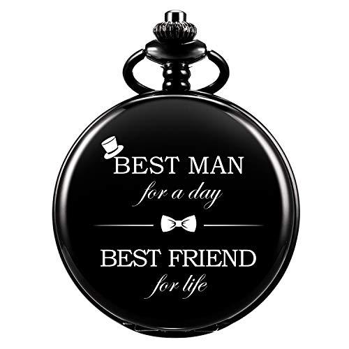Taschenuhr - ManChDa Personalisiert Graviert Best Man Taschenuhr Quarz Fobwatch - Bräutigam Geschenke Für Hochzeit | Trauzeuge Geschenke - Gravierte Trauzeuge Taschenuhr Hochzeitsgeschenk Geschenkbox