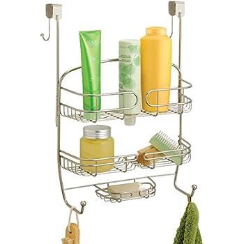 mDesign Estantería ducha sin taladro – Para encima de la puerta – Accesorios ducha sin tornillos para sus productos de higiene – Color: satinado: Amazon.es: Hogar