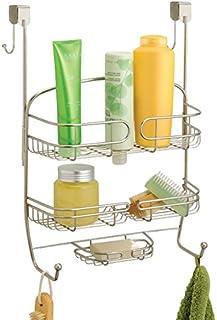 mDesign étagère de douche à suspendre à la porte de la douche – serviteur de douche pratique sans perçage – valet de douch...