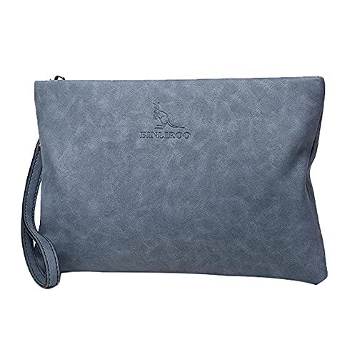 Aideal Pochette uomo con cinturino da polso, in pelle morbida, Portafoglio grande borse a mano organizer con cerniera, 27,5x17,5x2,2 cm (Blu)