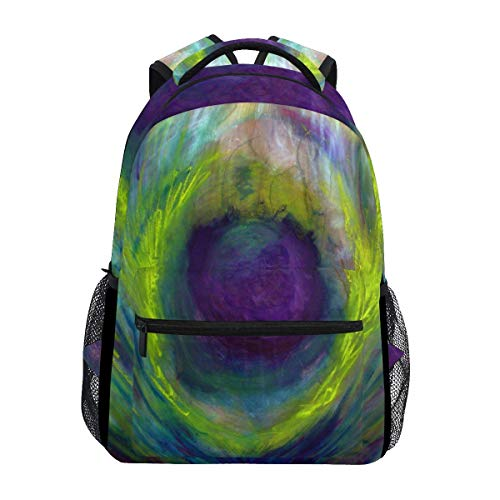 poiuytrew Peacock Feather Backpack Students Shoulder Bags Travel Bag College School Backpacks