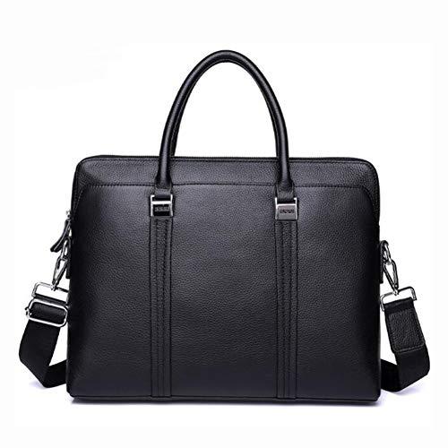 Getrichar Leather Business Briefcase Men's Fashion Handbag First Layer Cowhide Shoulder Cross Bag 14 Inch Delicate Computer Bag (Color : Black, Size : 40 * 30cm)