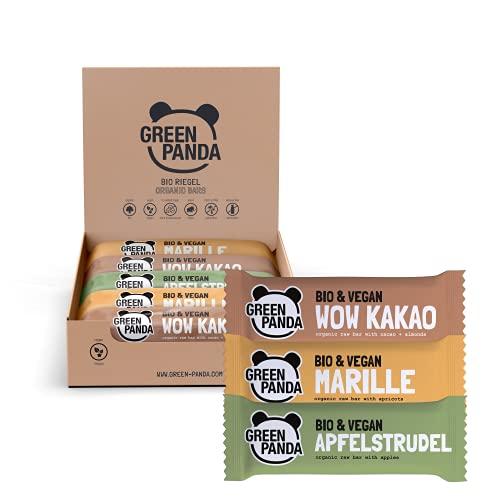 Barritas veganas, Snack Paleo vegano puro, crudo y con ingredientes orgánicos. Barritas energéticas 12 x 30g en una caja de Green Panda (3 sabores)