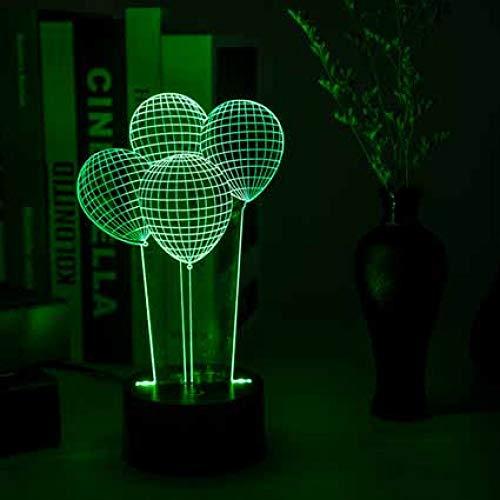 Sproud 16 Farbe Fernbedienung auf schwarz 4 Luftballons Led Nachtlicht/USB Stereo Vision Tischlampe / 3D Illusion Lampe/Valentinstag romantische Stimmung Lichter/Kinder Geburtstagsgeschenk