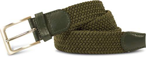 fashionchimp ® Stretchgürtel geflochten, dehnbarer, elastischer Stoffgürtel für Damen und Herren, Breite 3,5cm (Olivgrün, 135, dehnbar bis 145)