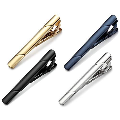 MOZETO Krawattenklammer, Classic Style Tie Clips Set (4-tlg), Krawattennadel für Herren mit Luxus-Geschenkbox (04#1)