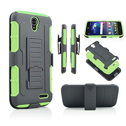 for ZTE Grand X3(Z959)  Zmax Grand LTE Z916  ZMAX Champ (Z917)  WARP 7  N9519  AVID 916 Hybrid Rugged Kickstand Armor Tough Dual Layer Rubberized Case with Belt Clip Holster Cover (Green)