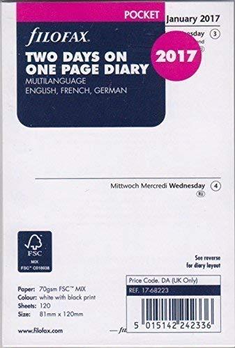 Filofax 000017–68223Pocket 2días por página, 2017, multilingüe), calendario, agenda y organizador