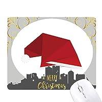 赤の抽象的なクリスマスの帽子の折り紙 クリスマスイブのゴムマウスパッド