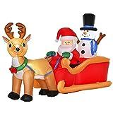 homcom Babbo Natale Gonfiabile con Slitta, Renna, Pupazzo di Neve e Luci...
