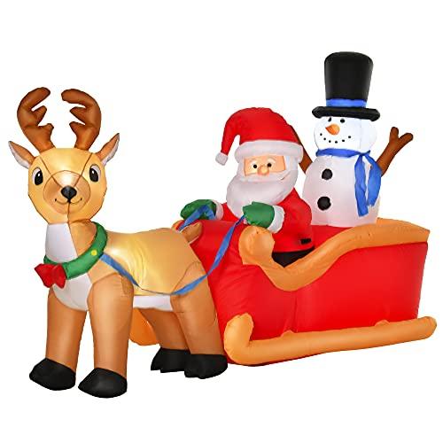 homcom Babbo Natale Gonfiabile con Slitta, Renna, Pupazzo di Neve e Luci LED, Decorazione Natalizia da Esterno, 200x80x128cm