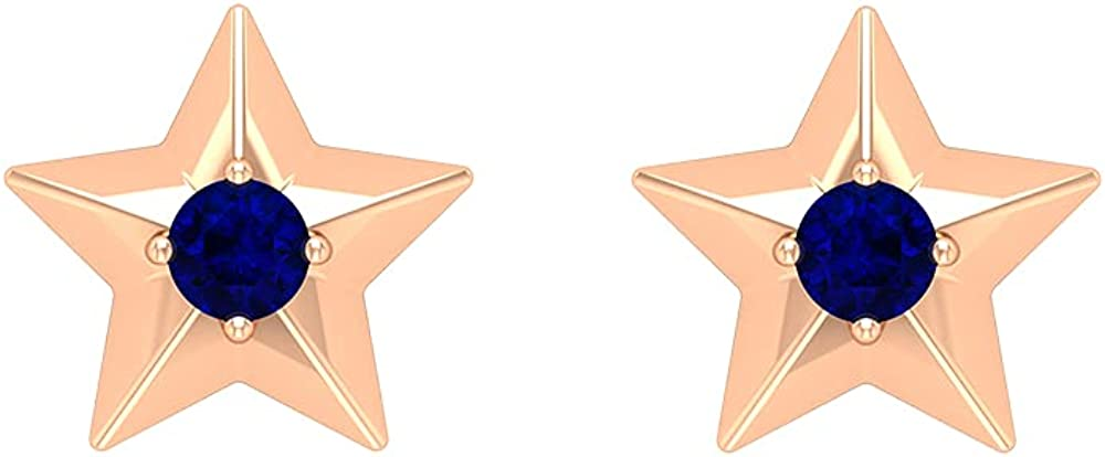 September Birthstone - Gold Star Stud Earrings with Blue Sapphire (AAA Quality),14K Rose Gold,Blue Sapphire