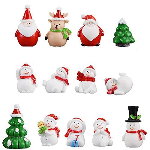 13 Stücke Weihnachtsdeko DIY Harz Miniatur Weihnachten Dekoration, X'Mas Decor Kleine Ornamente Figuren Weihnachtsmann Weihnachtsbaum Schneemann Deko Garten Bonsai Puppenhaus Tisch Dekoration