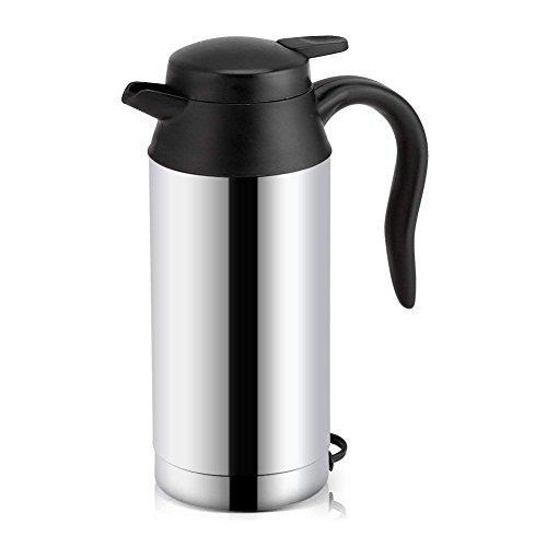 Fdit Portable Edelstahl Elektrische Wasserkocher Fahrzeug DC 12 V Zigarettenanzünder Heizung Trinkbecher Reise Kaffee Becher Wasserflasche 750 ml