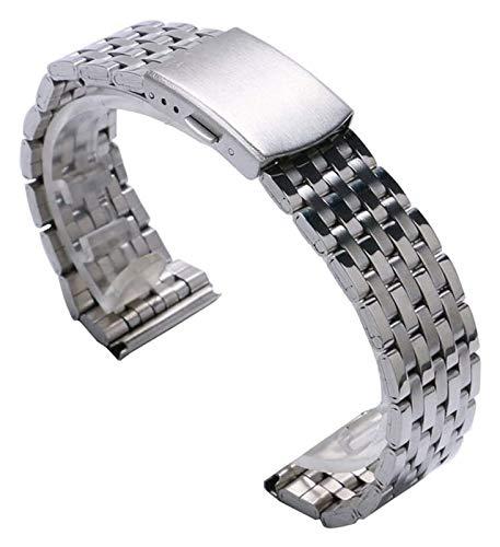 ZJSXIA Banda de Correa de Reloj de Acero Inoxidable de Plata de 18 mm / 20 mm / 22 mm con 2 Barras de Primavera para Relojes de muñeca Reloj de Reloj Correas de Reloj (Size : 18mm)