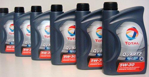 Total Quartz Ineo ECS 5W30 Huile Moteur 100% synthetique pour Peugeot e Citroen 6 boite de 1Litre = 6 Litre (Euro/lt 8,00)