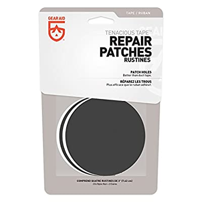"GEAR AID Tenacious Tape Repair Patches for Tents and Outdoor Gear, Black and Clear, 3"" Rounds"
