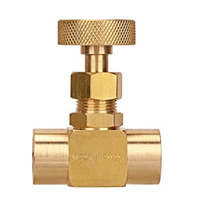 "MEASUREMAN Brass Mini Needle Valve 1/4""NPT Female x Female Working Pressure 1000psi by MEASUREMAN"