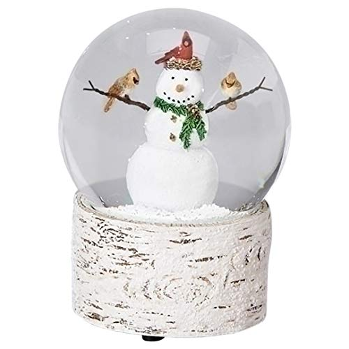 Snowman with Cardinal Friends 6 Inch Resin Musical Snowglobe Plays Holly Jolly Christmas (Christmas Snowglobe)