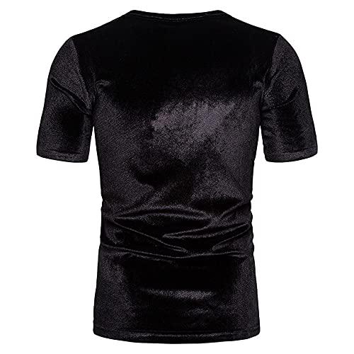 T-Shirt Hombre Verano Básico Color Sólido Cuello Redondo Manga Corta Hombre Shirt Ocio Slim Fit Vintage Cómoda Hombre Shirt Tendencia Clásica Hombre Ropa De Calle B-Black 3XL