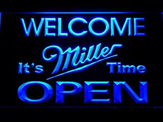 Welcome It's Miller Time Beer OPEN LED Neon Light Sign Man Cave 070-B