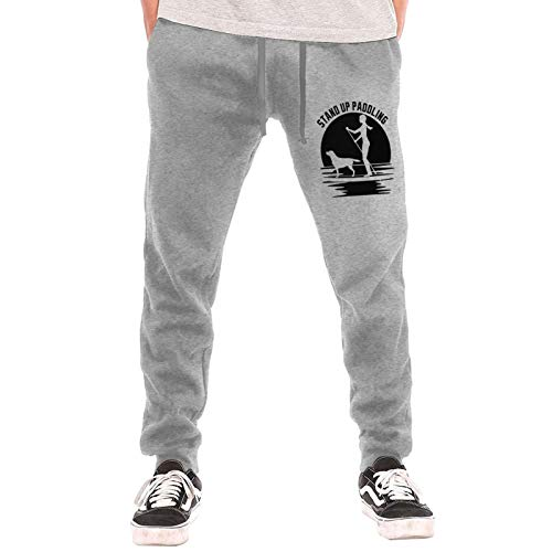 dissona Mens Jogger Sweatpants Womens Stand Up Paddle Board Elastic Waist Pajama Pants with Pockets Gray