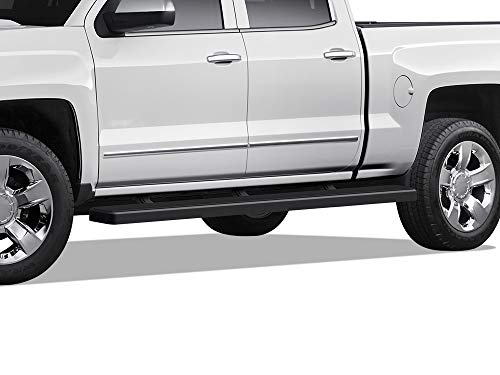 APS Wheel to Wheel Running Boards 5in Compatible with Chevy Silverado GMC Sierra 1500 2007-2018 Crew Cab 5.5ft Short Bed & 2500 3500 2019 (Exclude 07 Classic)(Include 19 1500 LD) (Nerf Bars Side Step)