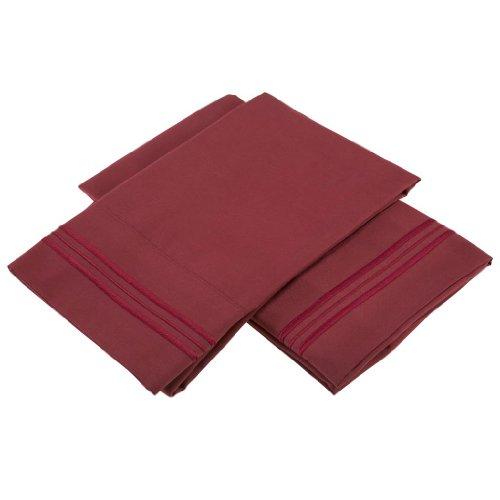 Clara Clark Pillowcases, Set of 2, Standard Size, Burgundy Red