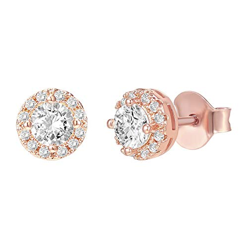 PAVOI 14K Gold Plated Sterling Silver Post Round Halo Cubic Zirconia Stud Earrings in Rose Gold
